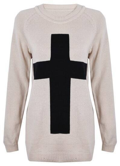 Beige Long Sleeve Cross Embellished Pullovers Sweater