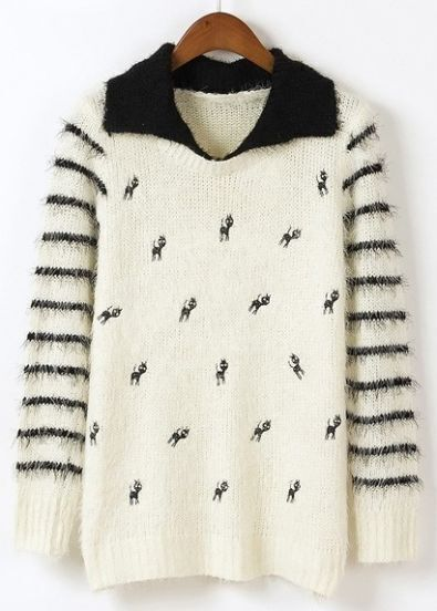Beige Striped Long Sleeve Cats Embroidery Mohair Sweater