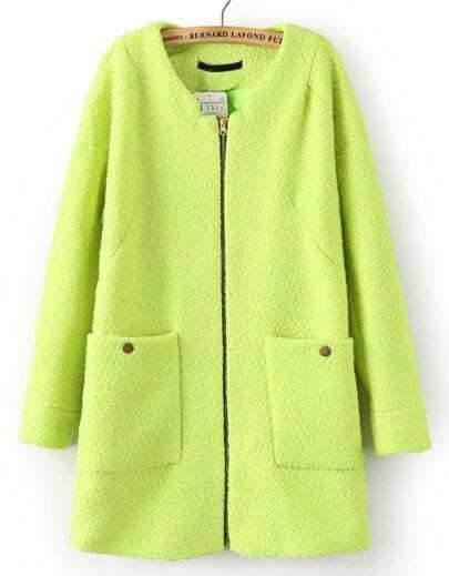 Green Long Sleeve Zipper Pockets Coat