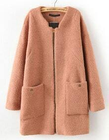 Khaki Long Sleeve Zipper Pockets Coat