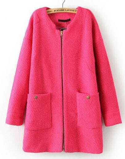 Rose Red Long Sleeve Zipper Pockets Coat