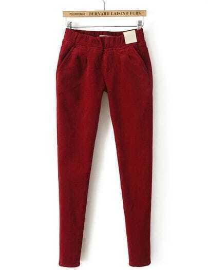 Red Elastic Waist Pockets Velvet Pant
