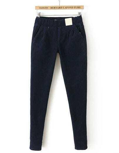 Blue Elastic Waist Pockets Velvet Pant