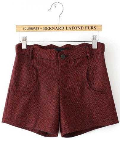 Wine Red Zigzag Waist Plaid Pockets Shorts