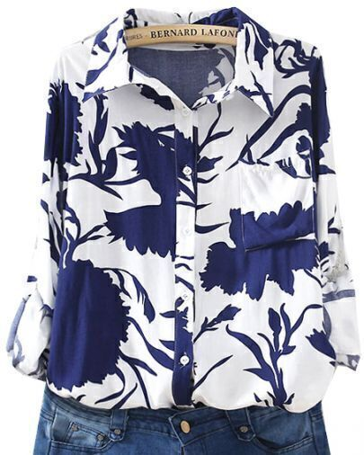 Blue White Lapel Long Sleeve Porcelain Print Blouse