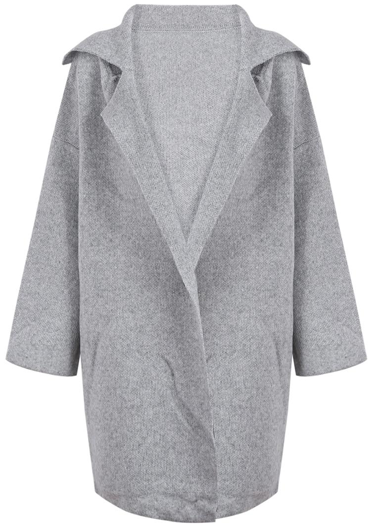 Grey Lapel Long Sleeve Long Sweater Coat -SheIn(Sheinside)