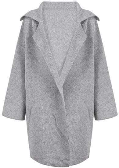 Grey Lapel Long Sleeve Long Sweater Coat