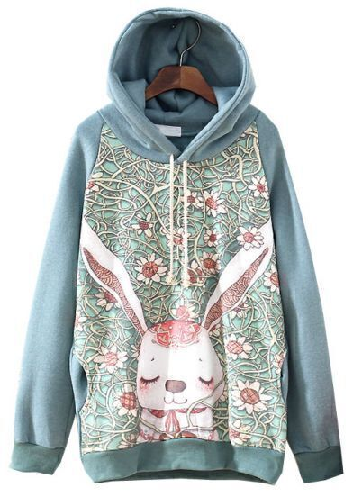 Green Hooded Long Sleeve Rabbit Floral Print Sweatshirt