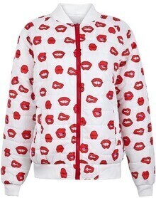 White Stand Collar Long Sleeve Lips Print Jacket