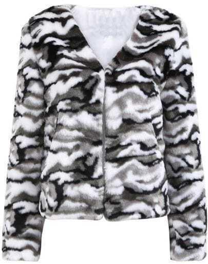 Grey White Camouflage V Neck Faux Fur Coat