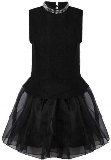 Black Sleeveless Bead Contrast Mesh Yoke Dress