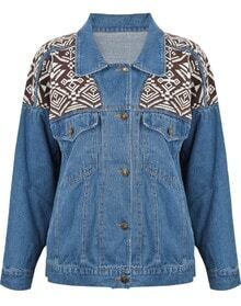 Blue Lapel Long Sleeve Tribal Print Denim Jacket