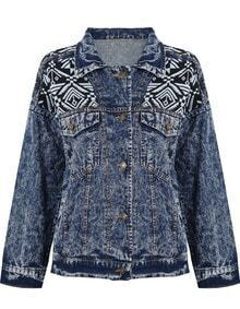 Navy Lapel Long Sleeve Tribal Print Denim Jacket