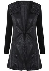 Black Contrast Long Sleeve Rhinestone PU Leather Jacket