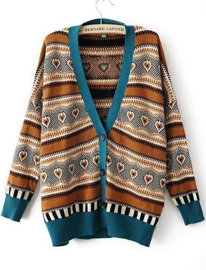Blue V Neck Long Sleeve Hearts Pattern Cardigan