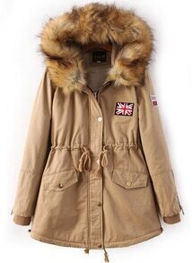 Khaki Faux Fur Hooded Drawstring Union Jack Coat