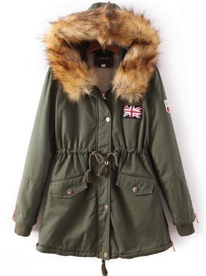 Army Green Faux Fur Hooded Drawstring Union Jack Coat