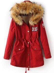 Red Faux Fur Hooded Drawstring Union Jack Coat