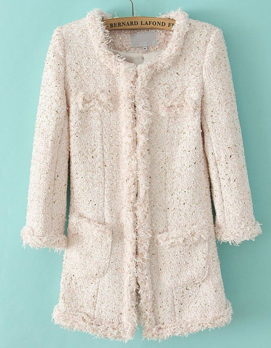Pink Long Sleeve Bead Fringe Tweed Coat -SheIn(Sheinside)