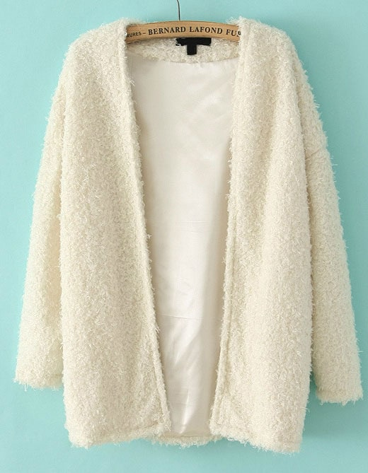 White Long Sleeve Loose Faux Fur Coat -SheIn(Sheinside)