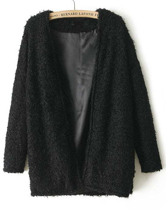 Black Long Sleeve Loose Faux Fur Coat -SheIn(Sheinside)