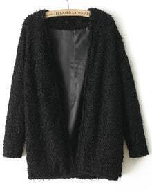 Black Long Sleeve Loose Faux Fur Coat