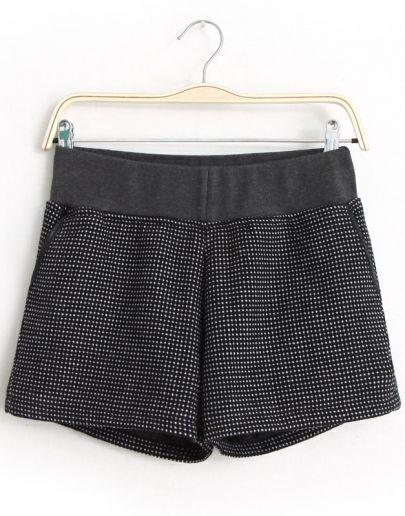 Black Elastic Waist Polka Dot Shorts