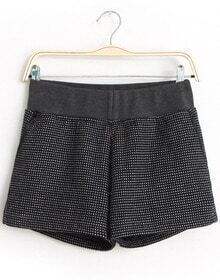 Black Elastic Waist Polka Dot Shorts