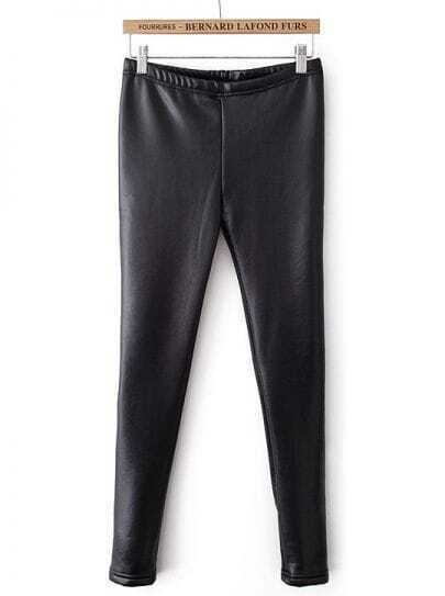 Black Skinny Elastic PU Leather Leggings