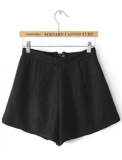 Black High Waist Zipper A Line Shorts
