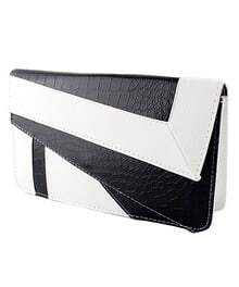 White Black Crocodile Leather Clutch Bag