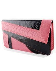 Red Black Crocodile Leather Clutch Bag