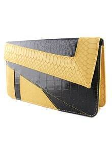 Yellow Black Crocodile Leather Clutch Bag