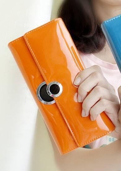 Orange PU Leather Clutch Bag