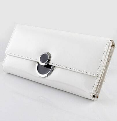 White PU Leather Clutch Bag