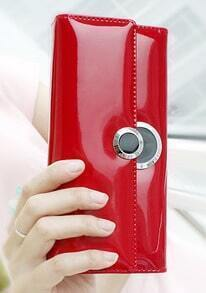 Red PU Leather Clutch Bag