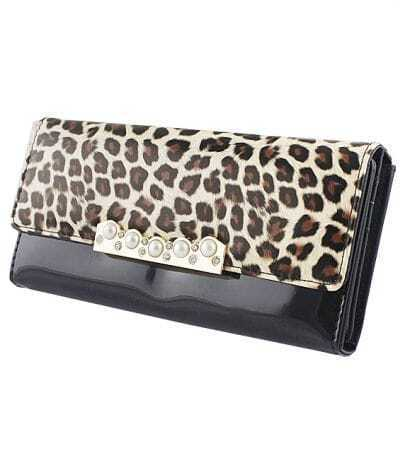 Black Beading Leopard PU Leather Clutch Bag