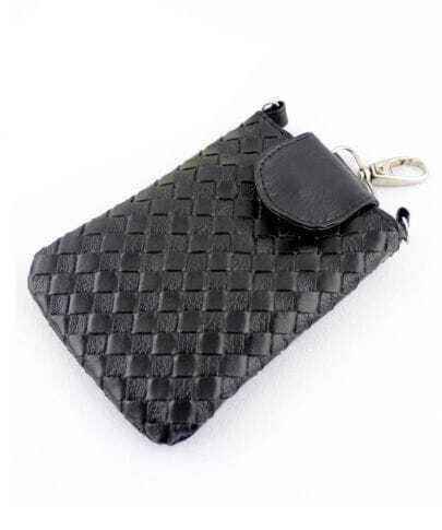 Black PU Leather Braided Clutch Bag
