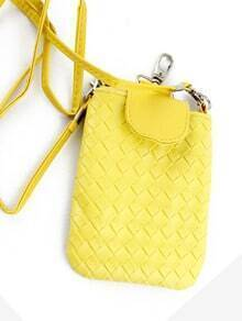 Yellow PU Leather Braided Clutch Bag