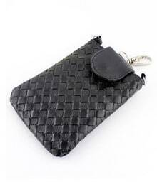 Black PU Leather Braided Clutch Bag