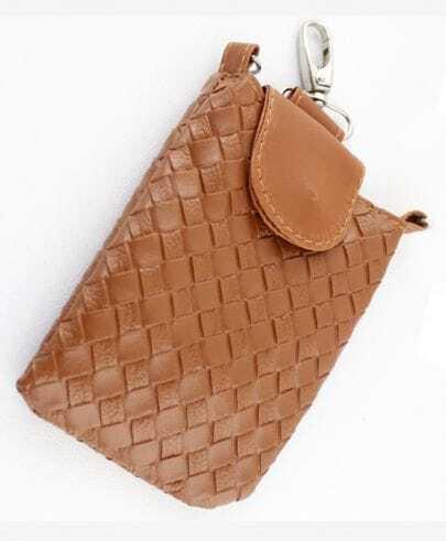 Khaki PU Leather Braided Clutch Bag