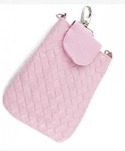 Pink PU Leather Braided Clutch Bag