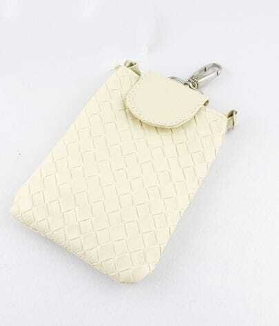 Beige PU Leather Braided Clutch Bag