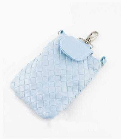 Blue PU Leather Braided Clutch Bag