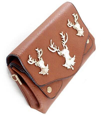 Khaki PU Leather Golden Deer Clutch Bag