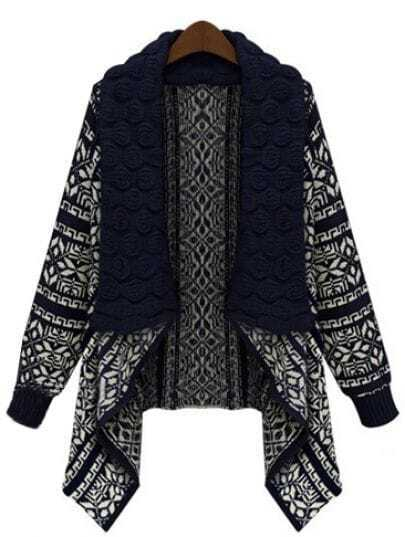 Black Long Sleeve Geometric Pattern Asymmetrical Cardigan