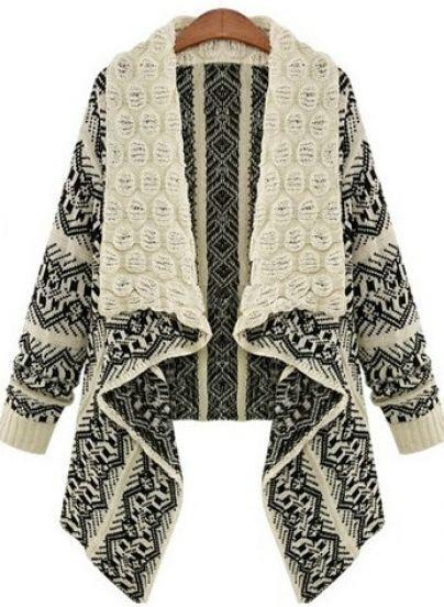 White Long Sleeve Geometric Pattern Asymmetrical Cardigan