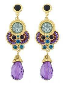 Blue Purple Gemstone Gold Vintage Earrings