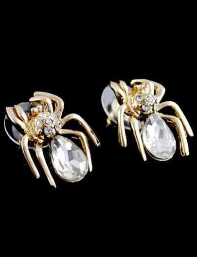 White Gemstone Gold Spider Stud Earrings