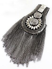 Retro Silver Bead Chain Tassel Brooches